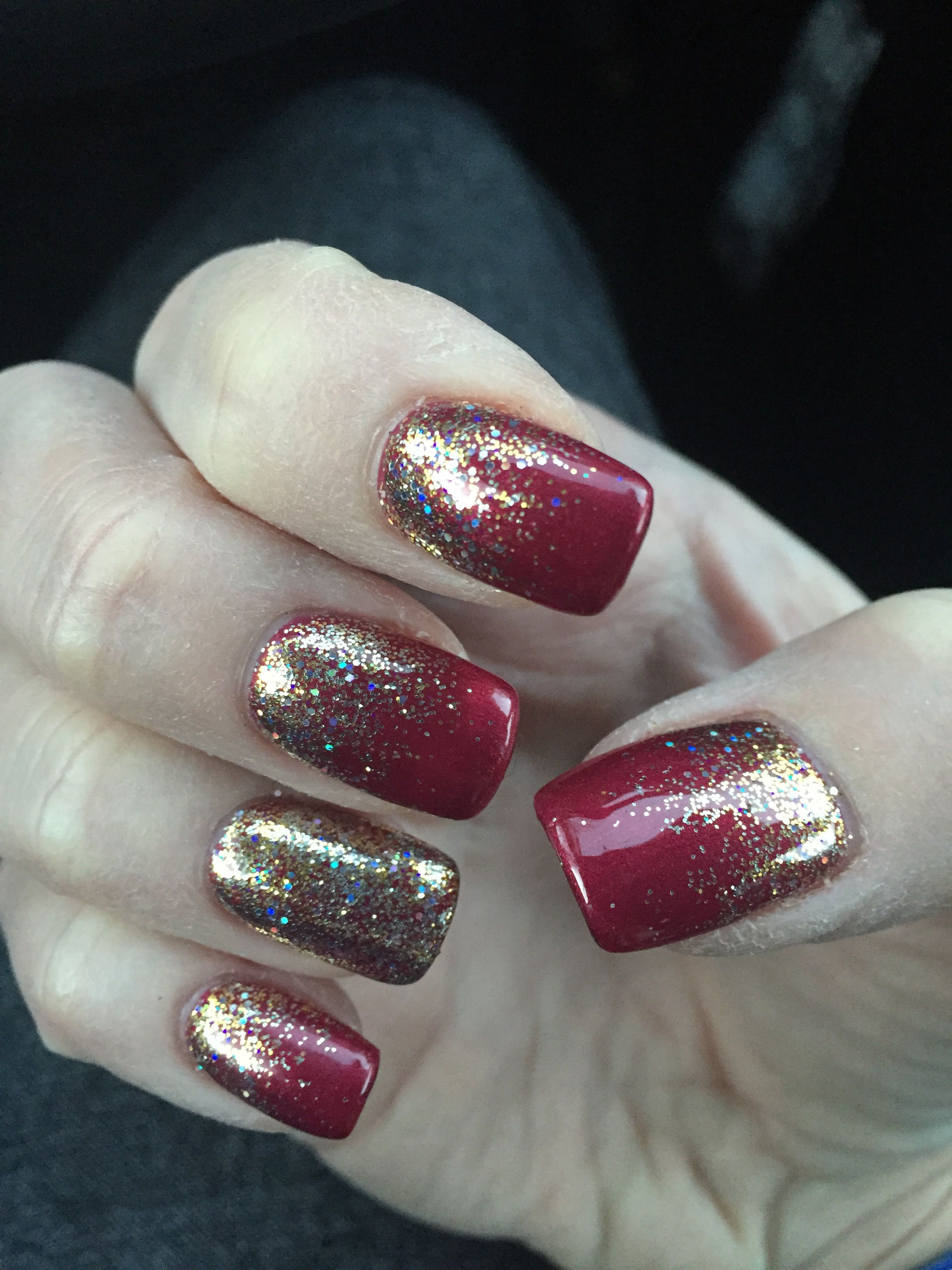 Red Ombre Nails Christmas.Pin By Kelly Adams On Nails In 2019 Gold Sparkle Nails