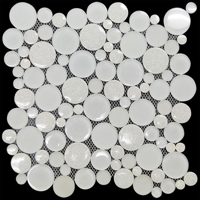 Alaska Round Bubble Mosaic Tile Mok 014 Glacier Crackle Glass Jewel Crackle Glass Mosaic Tiles Mosaic Glass Crackle Glass
