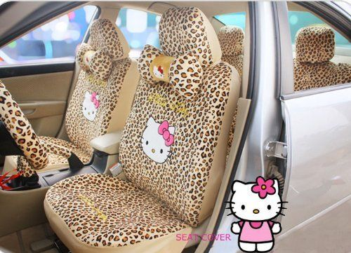 Backhomeday Hello Kitty Auto Car Front Rear Seat Plush Cover Cushion Set 18pcs Leopard Point 7