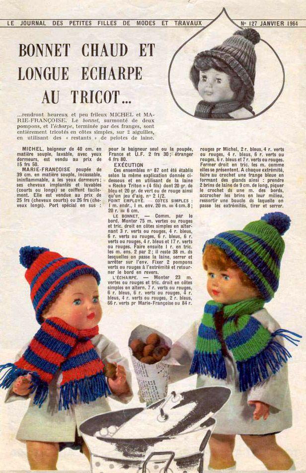 PAR AMOUR DES POUPEES    M T 1964-01 Bonnet chaud et longue écharpe (tricot) 9f651fb2bbf