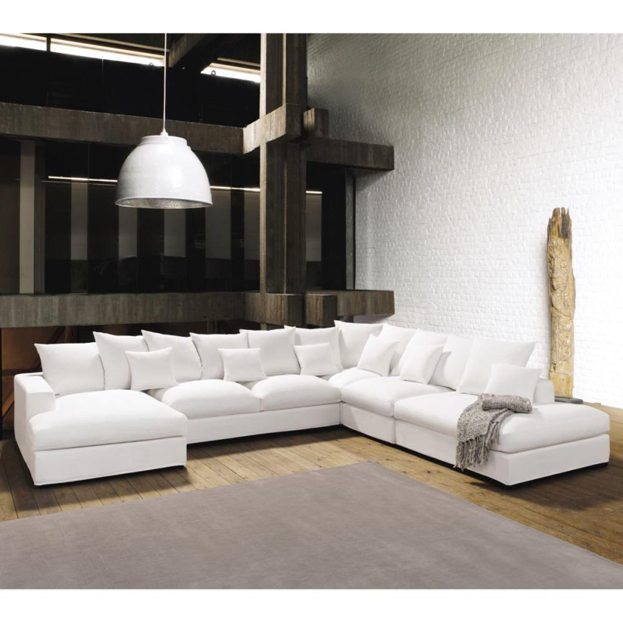 7 Seater Cotton Modular Corner Sofa In Ivory Maisons Du Monde In 2020 White Corner Sofas Living Room Sofa Design Modular Corner Sofa