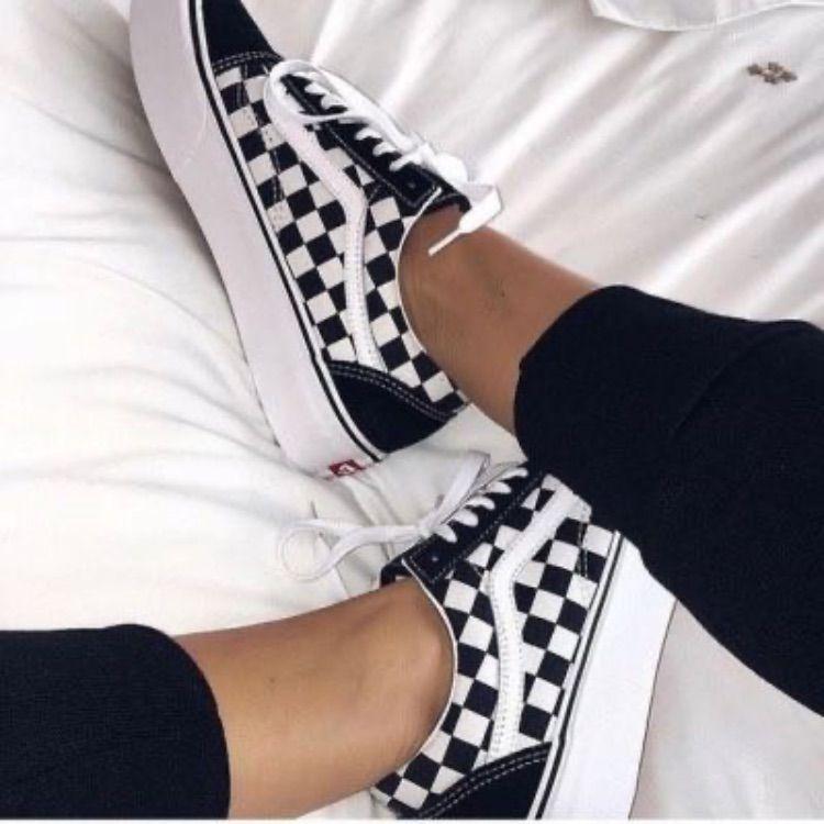 Platform Checkered Vans | Platform vans, Sneakers fashion ...