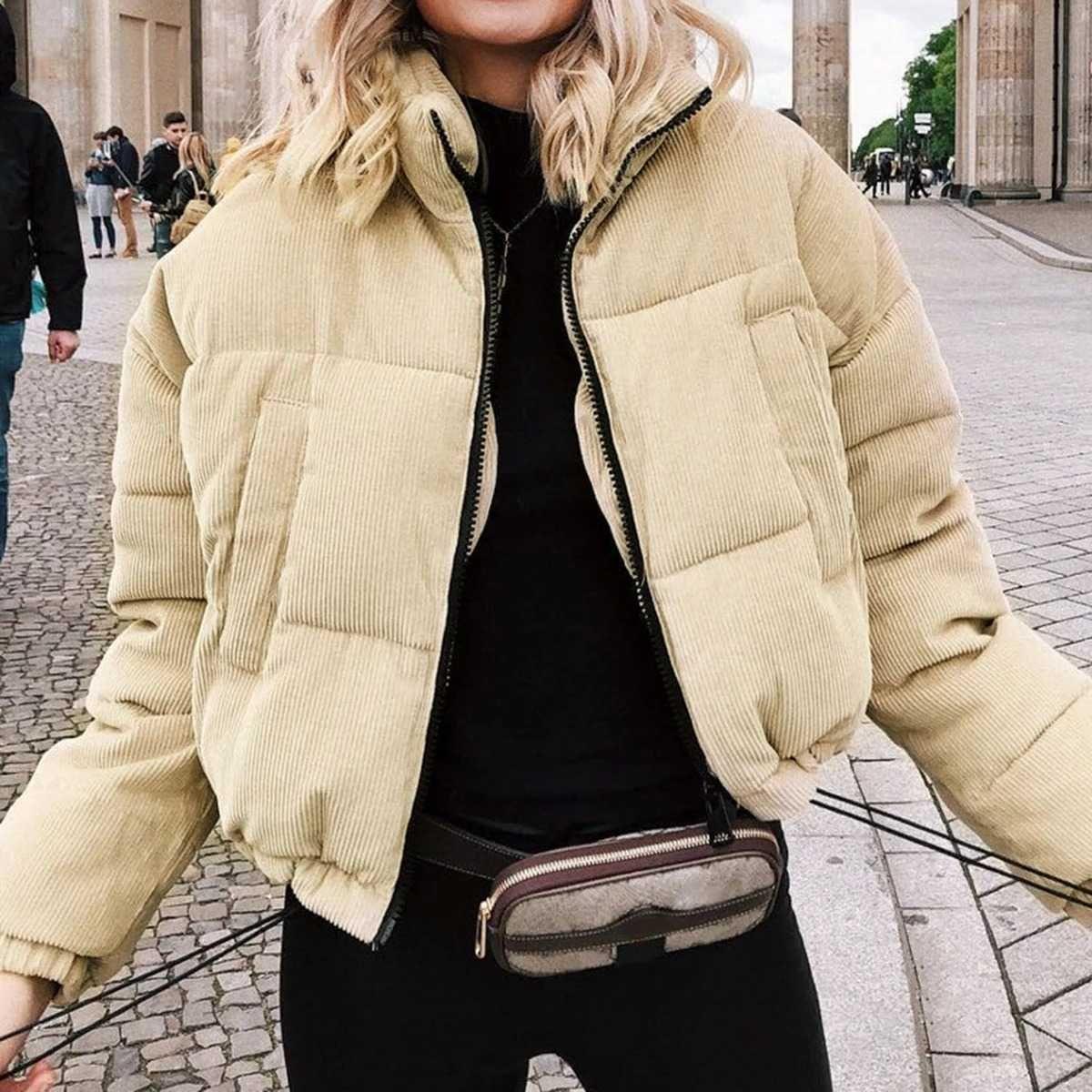 Short Corduroy Puffer Jacket Packable Down Bomber Coat Parka Jacket Women Corduroy Puffer Jacket Women Overcoat [ 1200 x 1200 Pixel ]