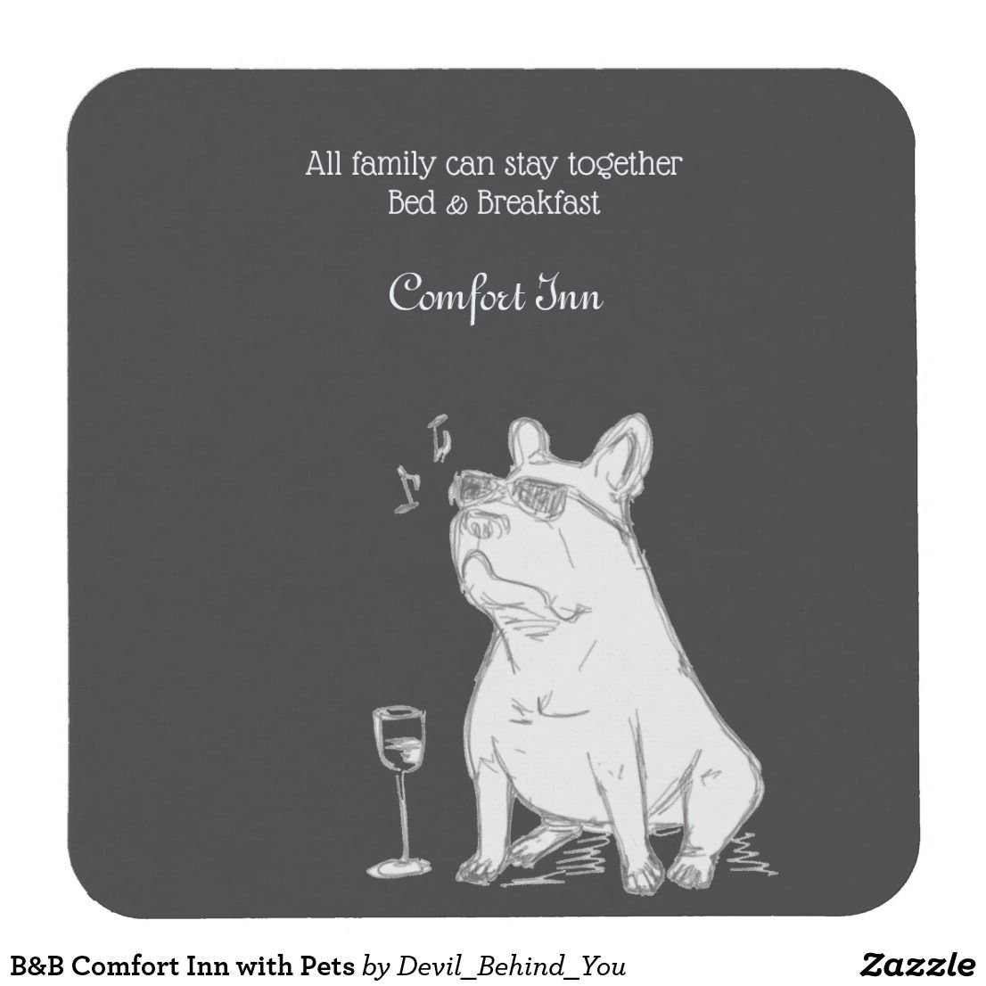 B B Comfort Inn With Pets Square Paper Coaster Zazzle Com Dby