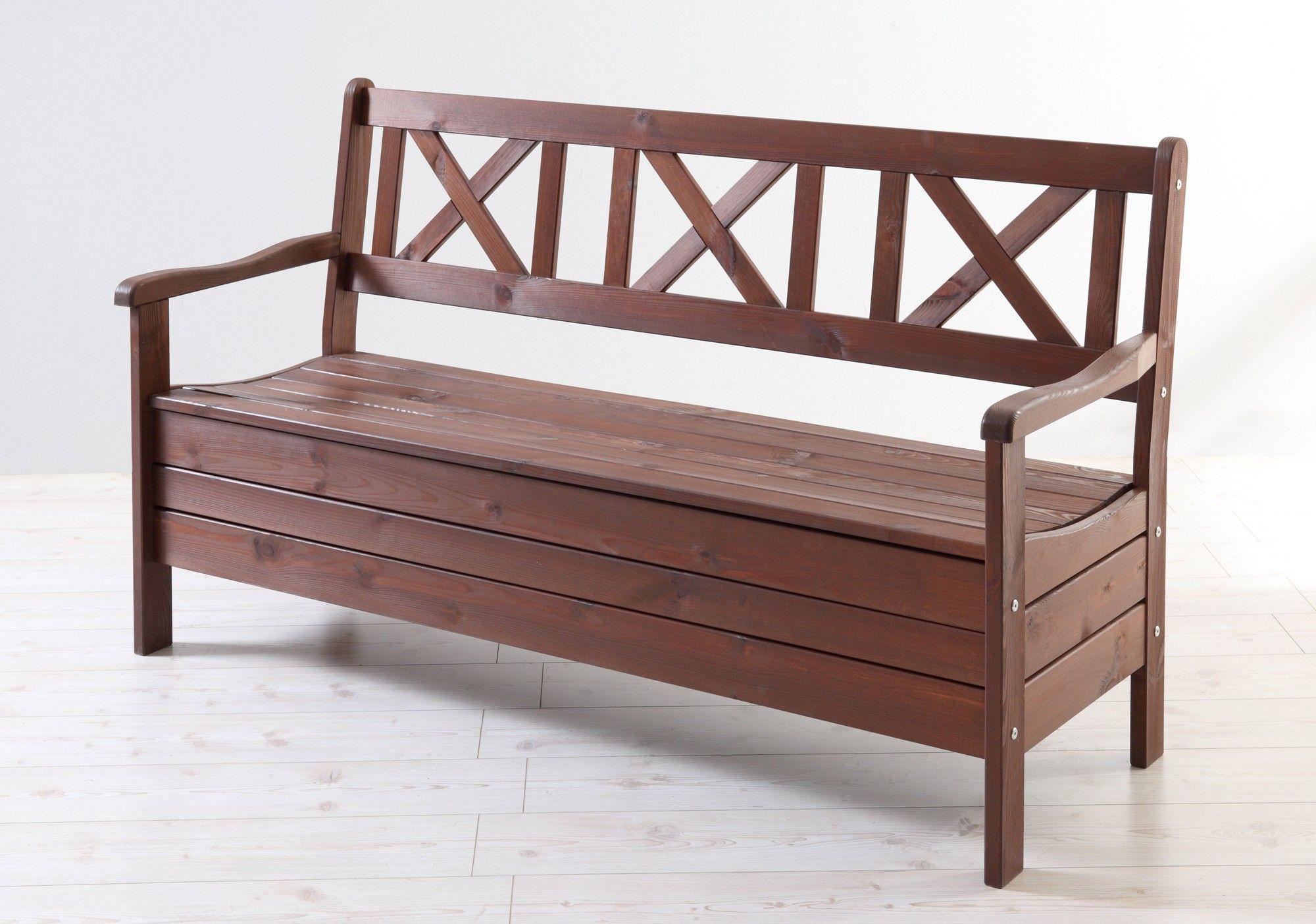 Gartenbank Mit Stauraum Holz 3 Sitzer Massiv Braun Gartenbank