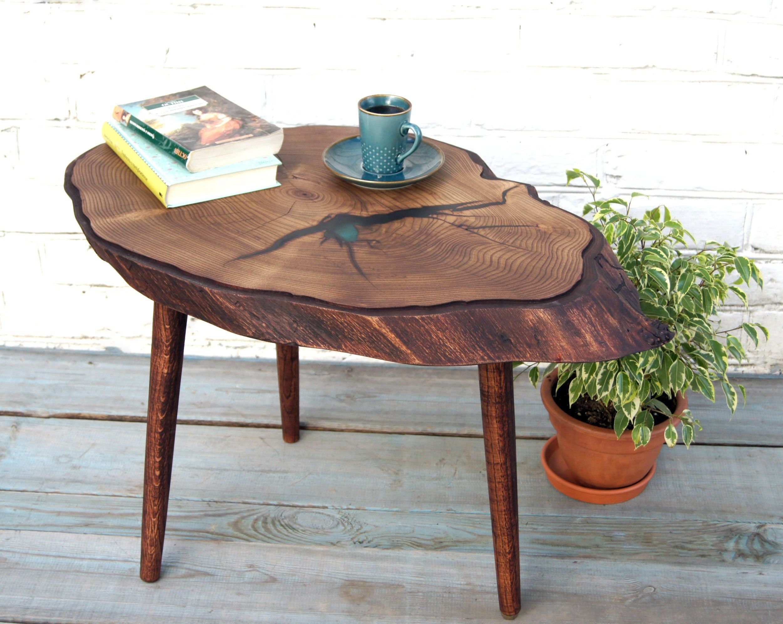 Large Epoxy Resin Coffee Table Live Edge Natural Wood Table Rustic