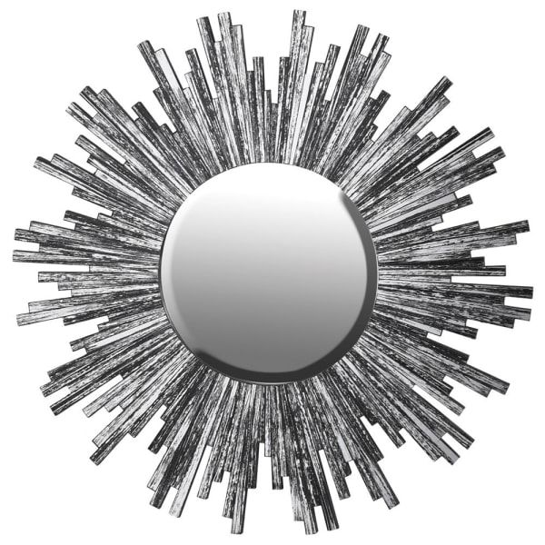 The Forest & Co. Large Smoked Black Glass Sunburst Mirror - Trouva