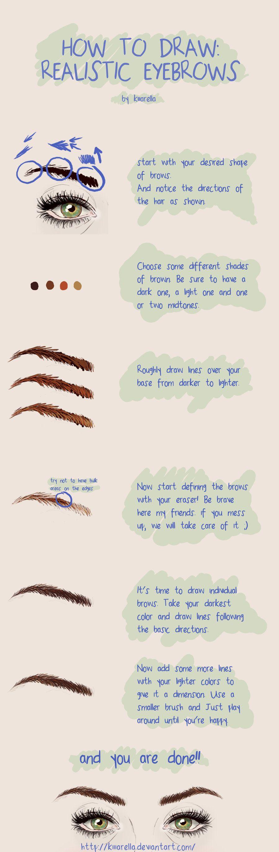 how to draw realistic eyebrows by kiiiarella deviantart com on