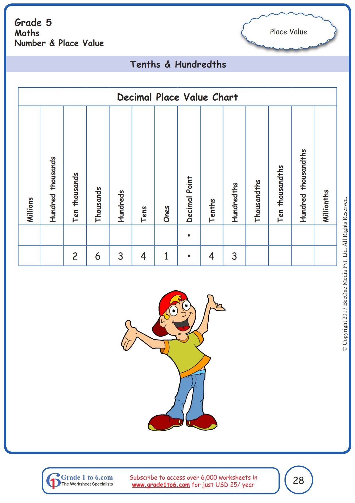 Worksheet Grade 5 Math Tenths Amp Hundredths In