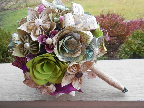 Custom Paper Flower Wedding Bouquets. YOU CHOOSE Colors, Papers, Flowers. Anything Is Possible.