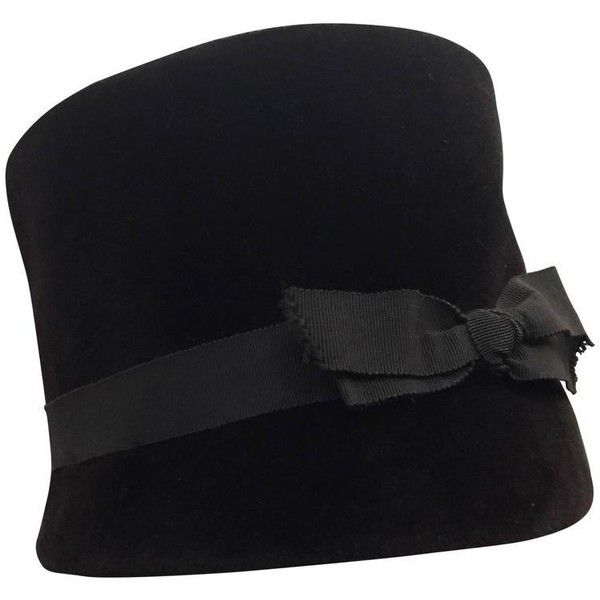 06c7b4082bf4 Preowned 1960s Christian Dior Velvet Equestrian Style Hat W/ Bow ($600) ❤  liked on Polyvore featuring accessories, hats, black, bow hat, tall hat, ...