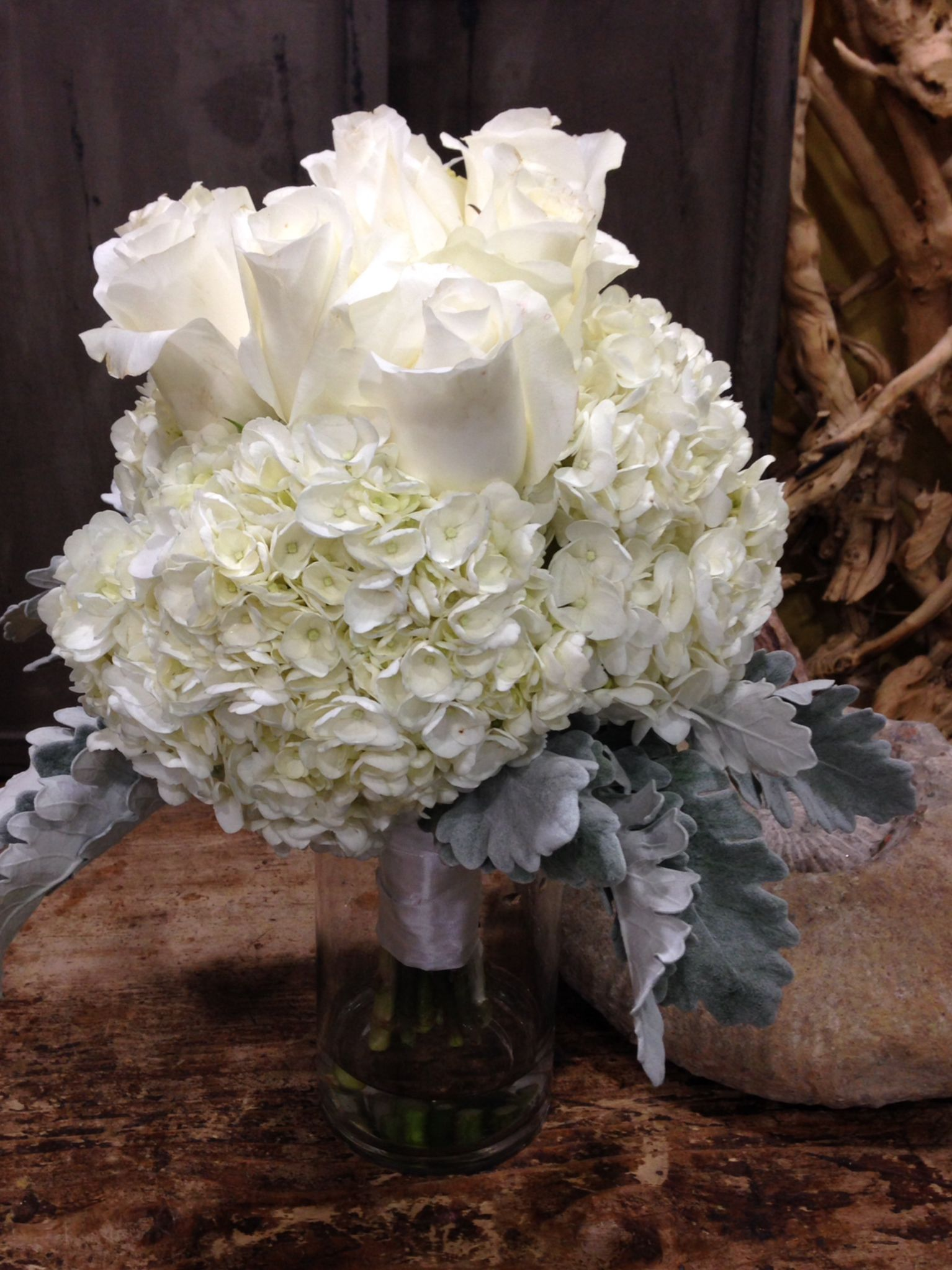 White Hydrangea, White Roses and Dusty Miller Bride's