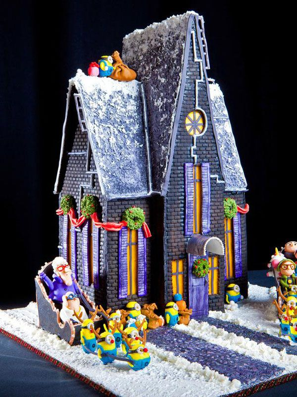 Gingerbread despicable me house from diy network for Cool designs for gingerbread houses