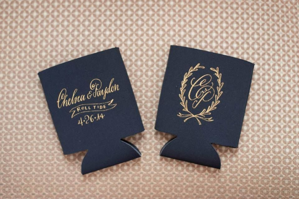 Navy And Gold Custom Koozies Wedding Favors M Elizabeth Events