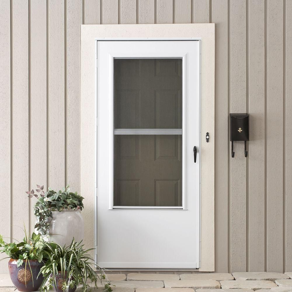Emco 32 In X 80 In 200 Series White Universal Triple Track Aluminum Storm Door E2tt 32wh The Home Depot In 2020 Aluminum Storm Doors Storm Door Home Depot Doors