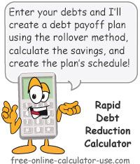 Free Rapid Debt Reduction Calculator With Amazing Rollover Method