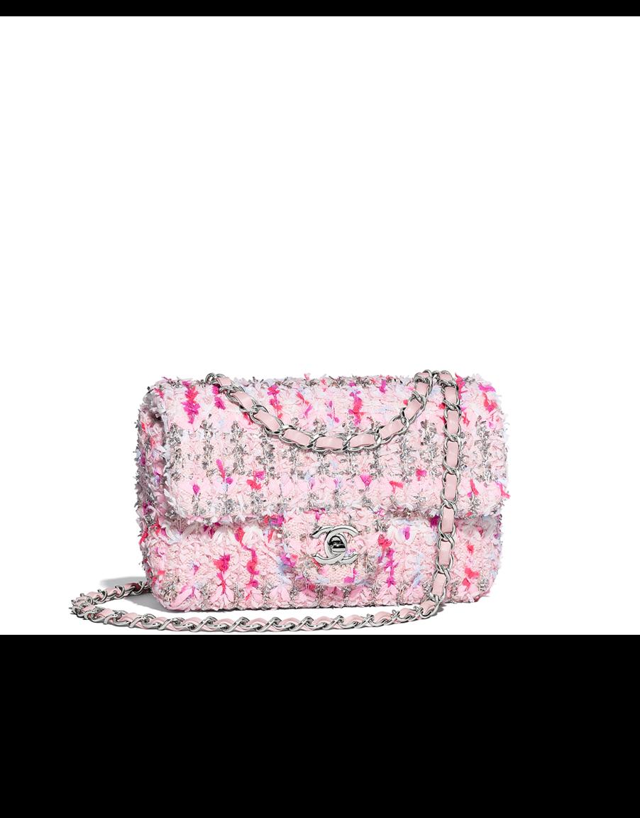 d820a4d53552e7 Flap bag, knit & silver-tone metal-pink, white & dark pink - CHANEL ...