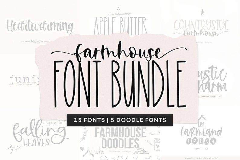 Download Farmhouse Font Bundle Fonts for Crafters Cricut Fonts ...