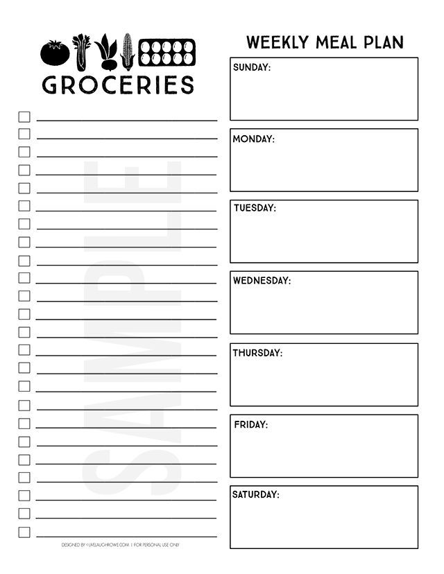 Printable Menu Planner And Online Grocery Pickup  Printable Menu