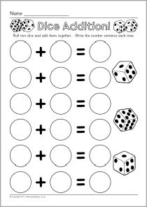 4 dice addition worksheets sparklebox free printables resources pre kinder 1st reading. Black Bedroom Furniture Sets. Home Design Ideas