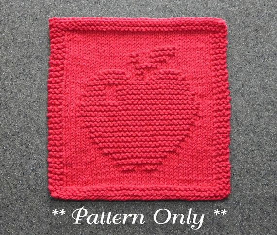 Apple Knitted Dishcloth Pattern Pdf Instant Download Knit Dish