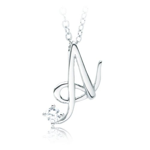 Letter A Name Initial Necklace with Cubic Zirconia Silver - celebration letter