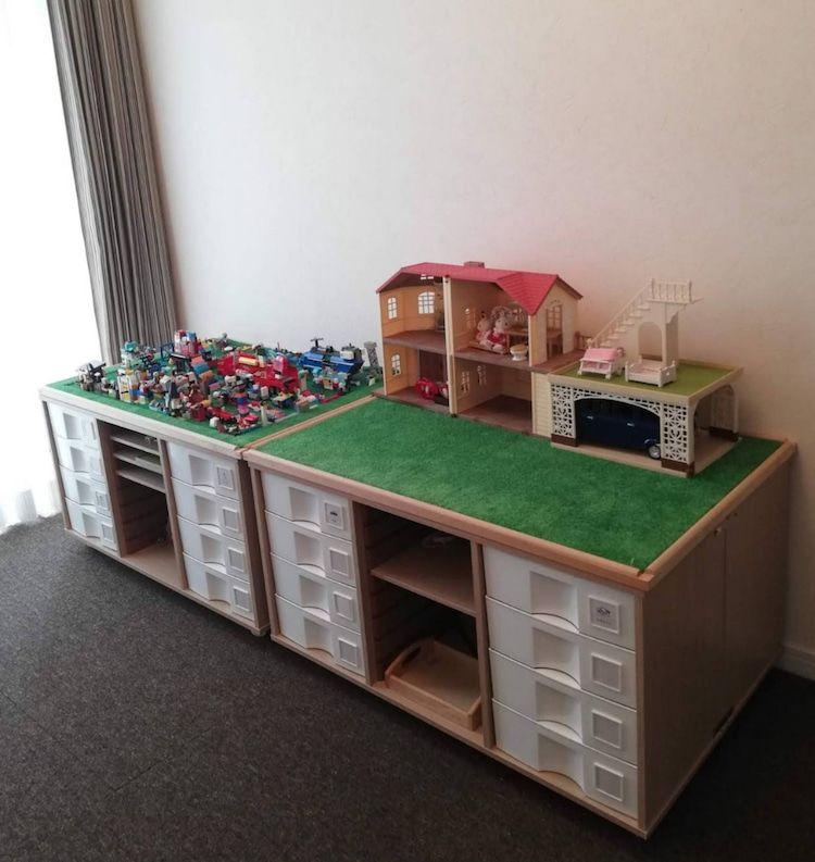 レゴテーブルdiyは 初心者でも作れる おもちゃ 収納 カラーボックス インテリア 収納 こども部屋 収納