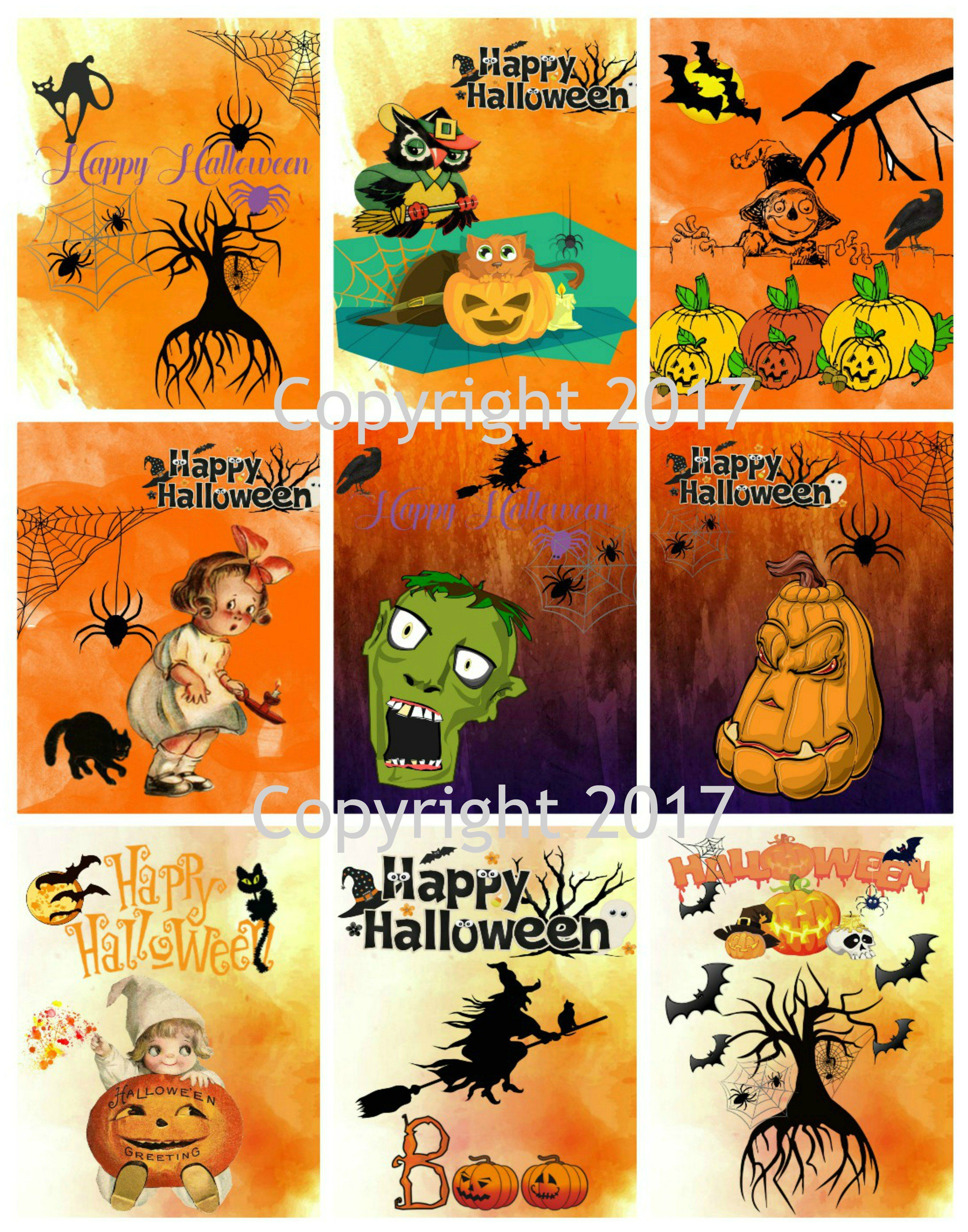 Printable Vintage Halloween Cards Collage Sheet 104 Products