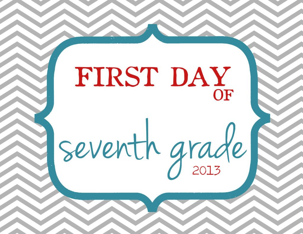First Day Of 7th Grade Sign Free Printable Elliebeandesign