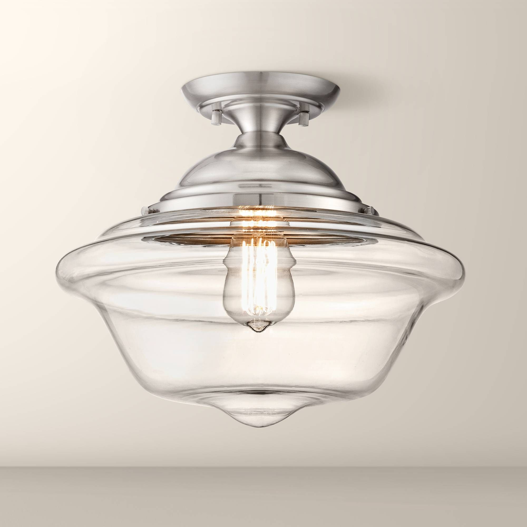 Schoolhouse Style Clear Glass Shows Through To A Vintage Edison Bulb In This Flushmount Ceiling Light Design