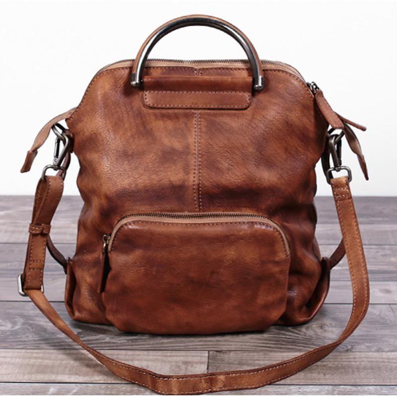 a19e46b77debd Handmade Women's Fashion Full Grain Leather Handbag Messenger School  Backpack in Brown WF57 - LISABAG