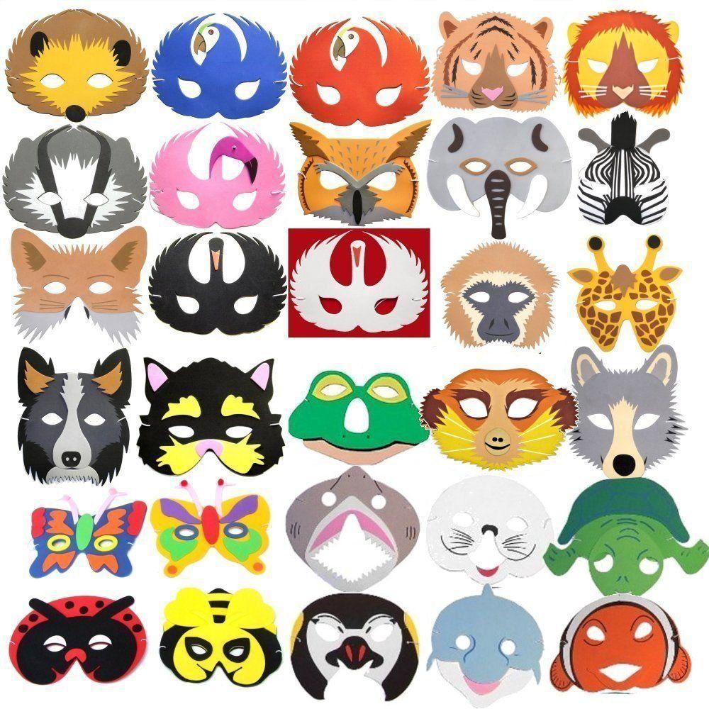 30 masques d 39 animaux en mousse pour enfant th me for t tropicale oc an ferme insectes et. Black Bedroom Furniture Sets. Home Design Ideas