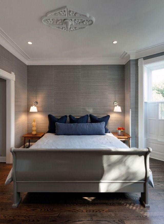 Schlafzimmer Wanddesign-Ideen modern-graue Tapeten Oberflächen - schlafzimmer ideen grau