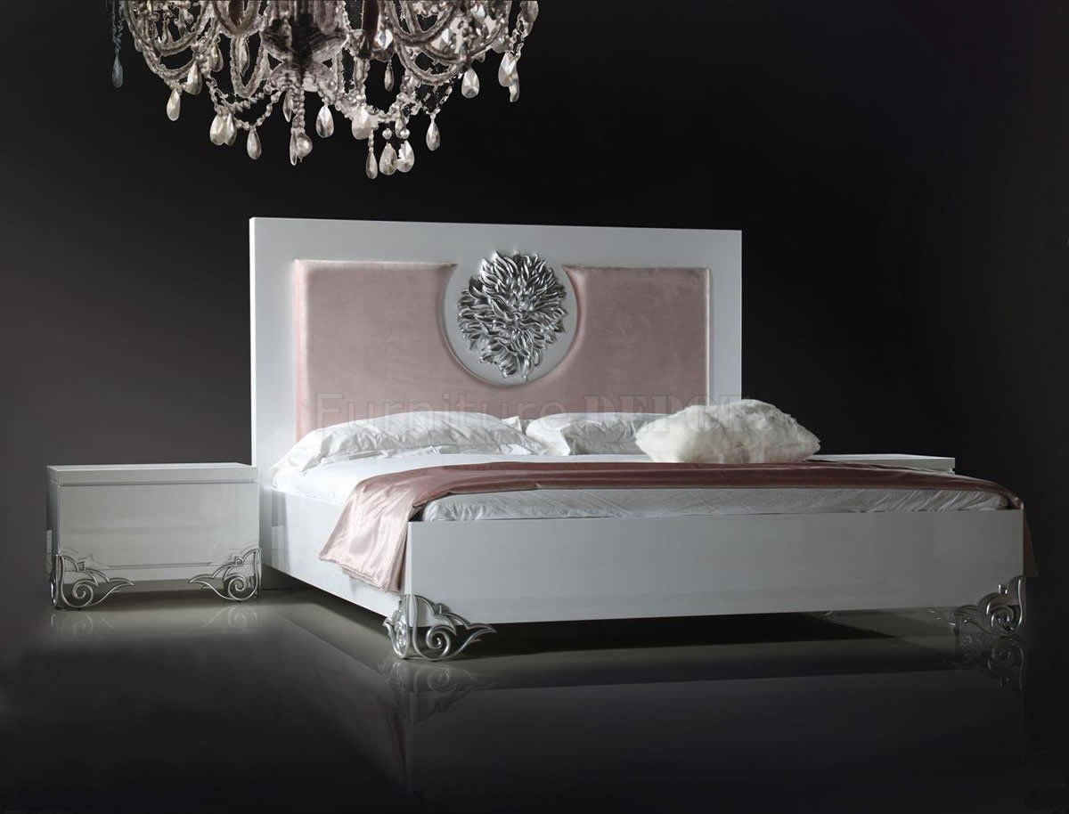 Bedroom, Glamorous White Lacquer Bedroom Furniture With Sparkling ...