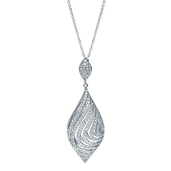 14k White Gold Allure Style  Fashion Necklace With  Diamond