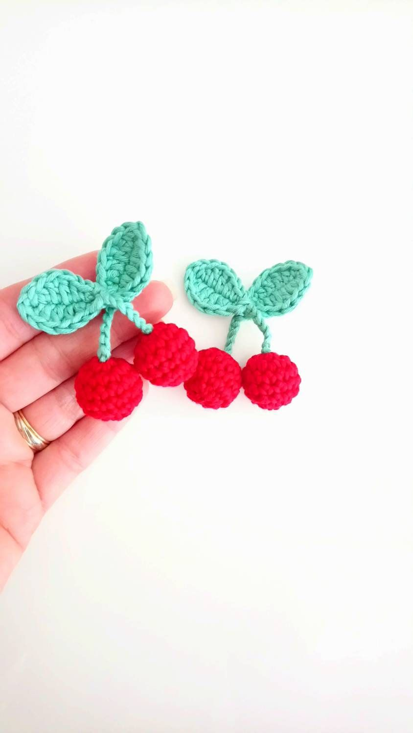 Cherries crochet brooch, crochet funny jewelry for girls or womens