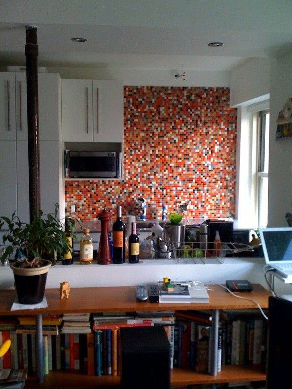 Brio Emma Blend Gl Mosaic Tile 3 4 Multicolor Red Orange Tan Gray Black And White Kitchen Wall Installation