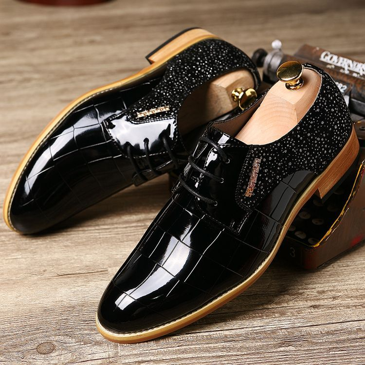 Well-Educated Fashion Designer Men Snake Skin Patent Leather Shoes Italian Tassel Pointed Toe Male Footwear Dress Brogue Oxford Shoes For Men Shoes