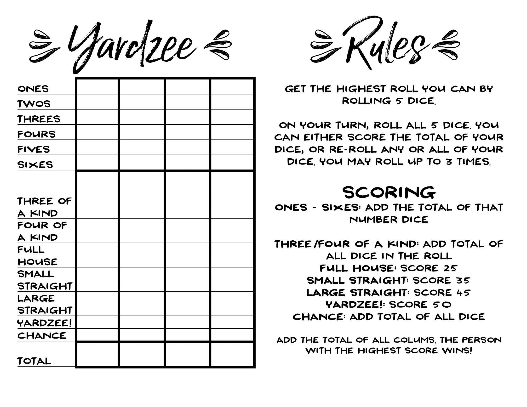 graphic about Printable Rules for Hand and Foot Card Game called How in the direction of Generate Huge Backyard Cube + Cost-free Printable Yardzee Produce