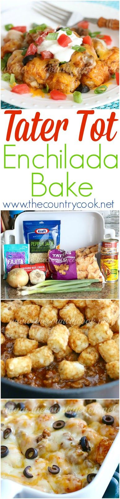 Tater tot enchilada bake   Recipe   Food recipes, Food ...