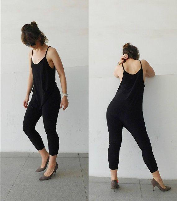 a8805fd283 Black Jumpsuit Baggy Jumpsuit Minimal Jumpsuit Jersey Jumpsuit Woman  Jumpsuit  Girl