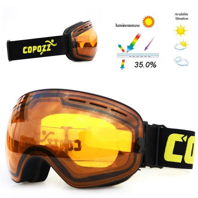 3e0149d02046 COPOZZ brand ski goggles double layers UV400 anti-fog big ski mask glasses  skiing men women snow snowboard goggles GOG-201 Pro