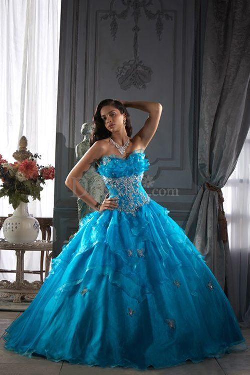 Extravagant Sweetheart Neck Quinceanera Dress in Blue with Ruffle ...