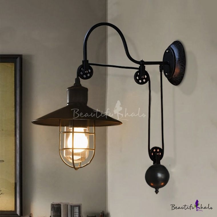 Industrial Style Adjustable 1 Light Wall Sconce In Black With Wire