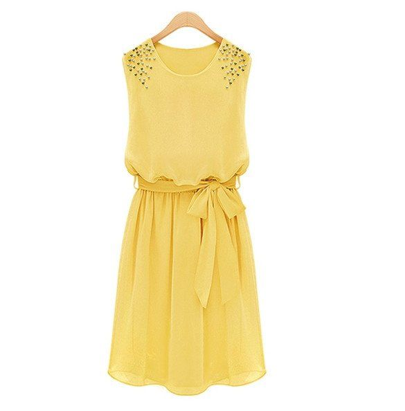 Womens' Sleeveless Handmade Bead Shoulder Chiffon Dress