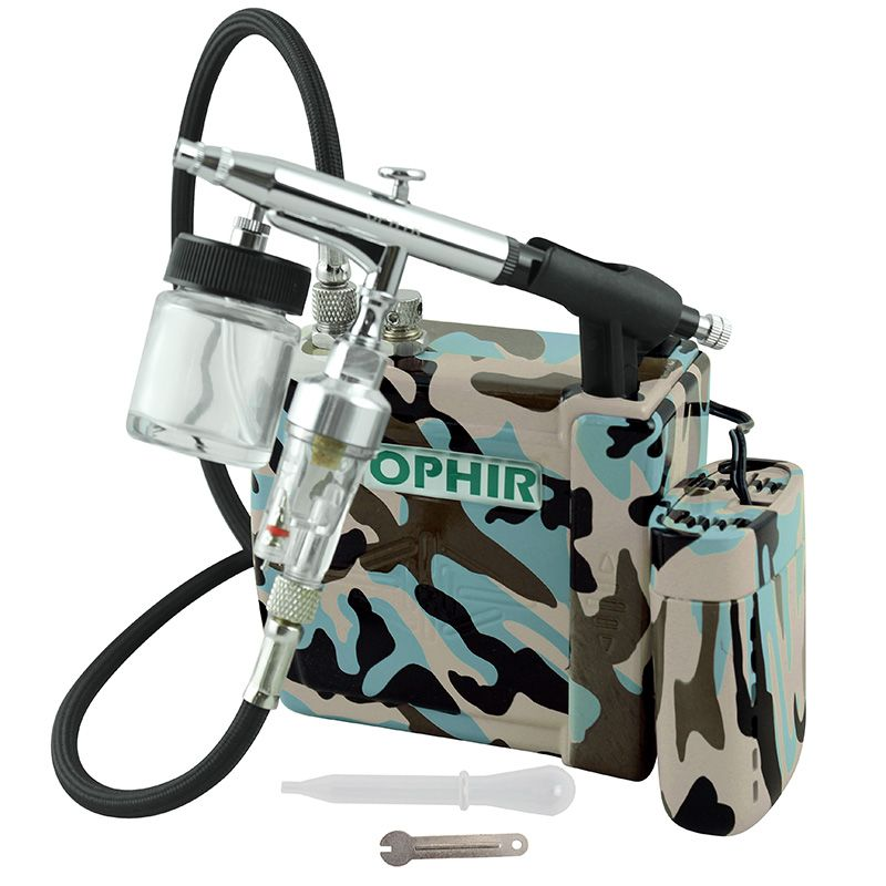 OPHIR 220V Air Compressor with Dual/&Single Action 3-Airbrushes for Body Cake Art