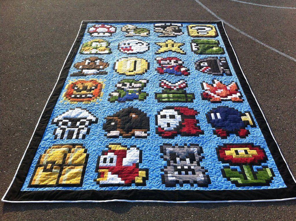 Mario Quilt Modern Quilts Ganchillo Tunecino Patrones Para Tejer Colchas