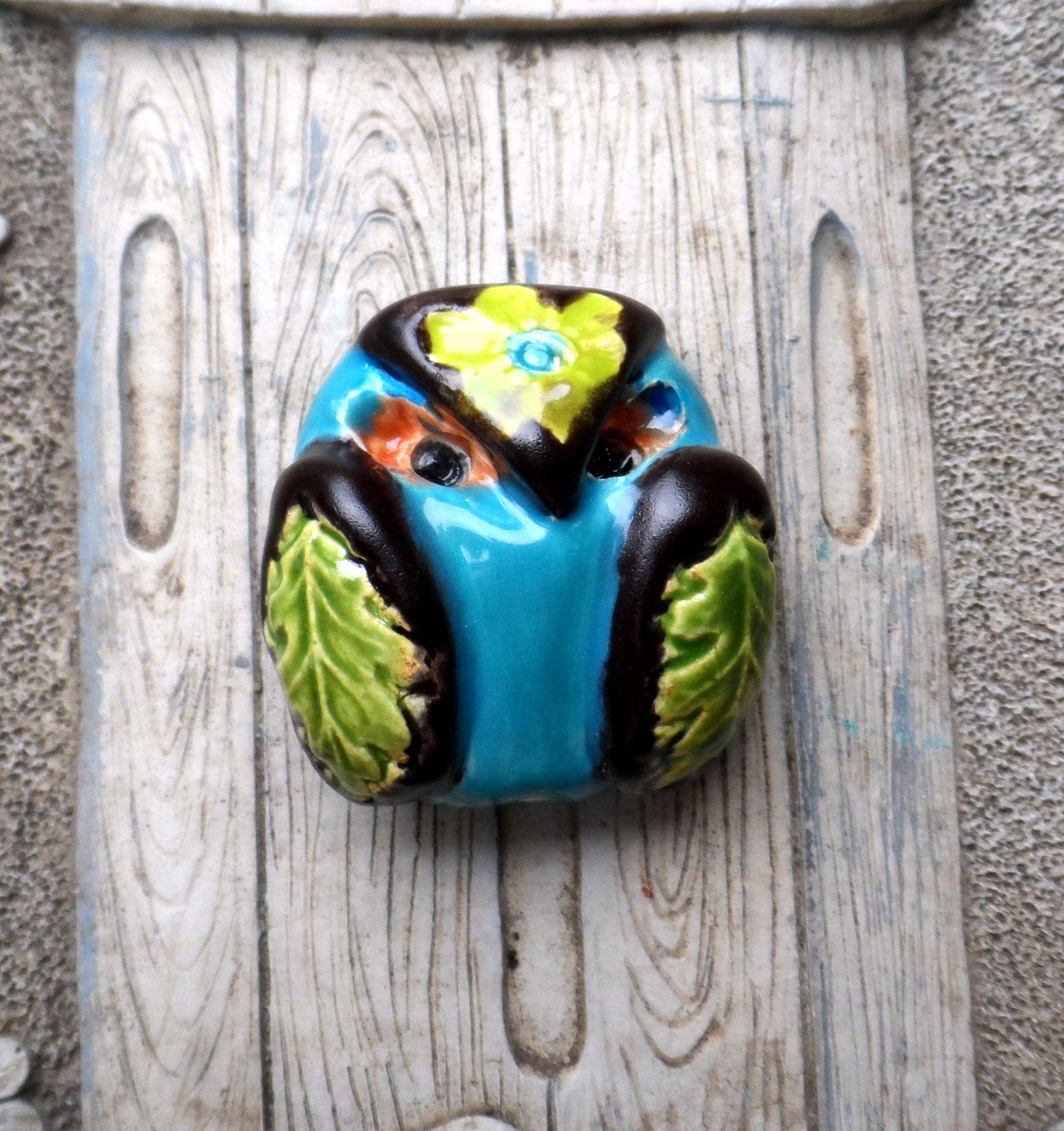 "Mad Owl 3D Owl Pendant/Bead 1 1/4"" x 1 1/4"" shaterra.etsy.com"