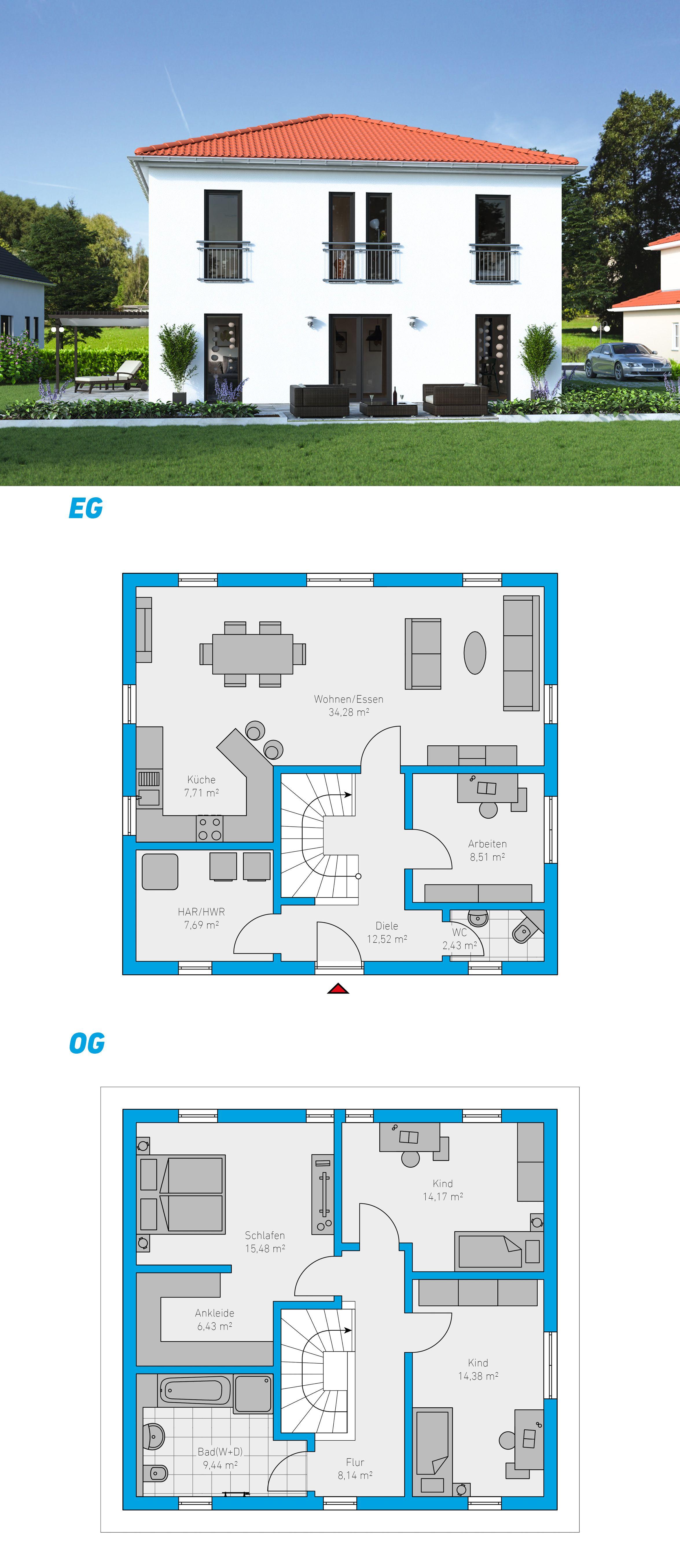 Edita 141 Schlusselfertiges Massivhaus Spektralhaus Ingutenwanden 2geschossig Grundriss Hausbau Massivhaus Steinmassivhaus Bauplan Haus Haus Bauen Haus