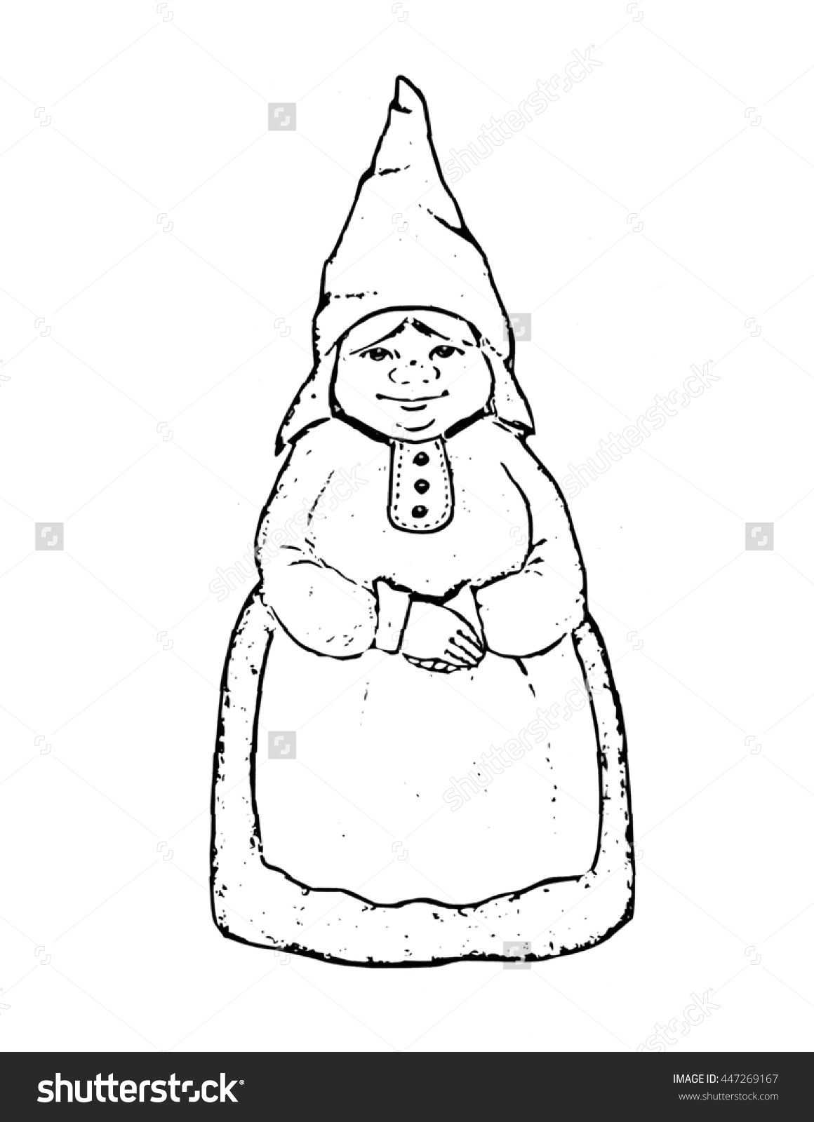 Gnome Lady Outline Drawing Hand Drawn Gnome Woman Outline Drawings Mandala Coloring Pages Drawings